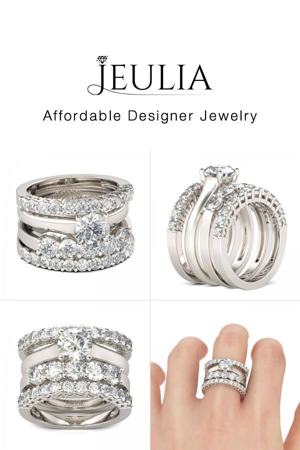 4PC Round Cut Sterling Silver Ring Set Wedding set Wedding and