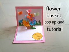 Flower basket pop up card tutorial youtube diwali craft ideas 3d flower card diy pop up cards for kids m4hsunfo