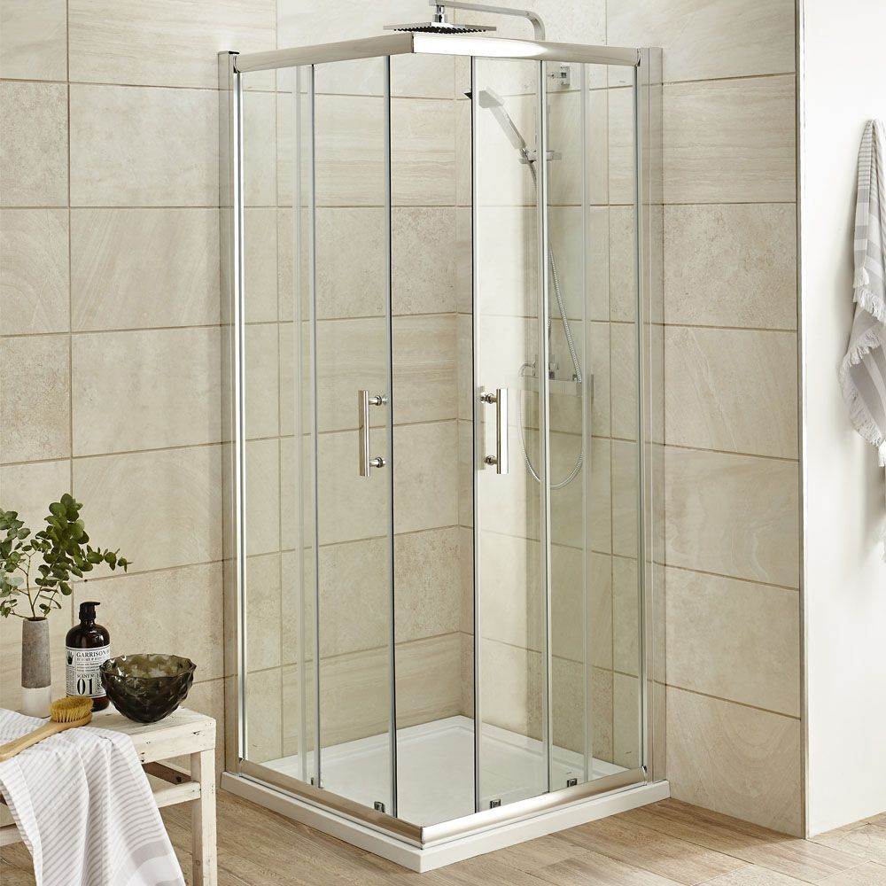 Pacific Corner Entry Square Shower Enclosure With Shower Tray And Waste At Victorian Plumbing Square Shower Enclosures Shower Enclosure Glass Shower Enclosures