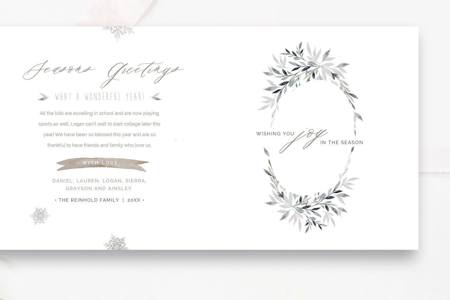 Accordion Christmas Card Template, Photoshop Template