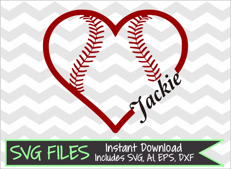 Baseball/Softball Heart with Name Space for Monogram SVG