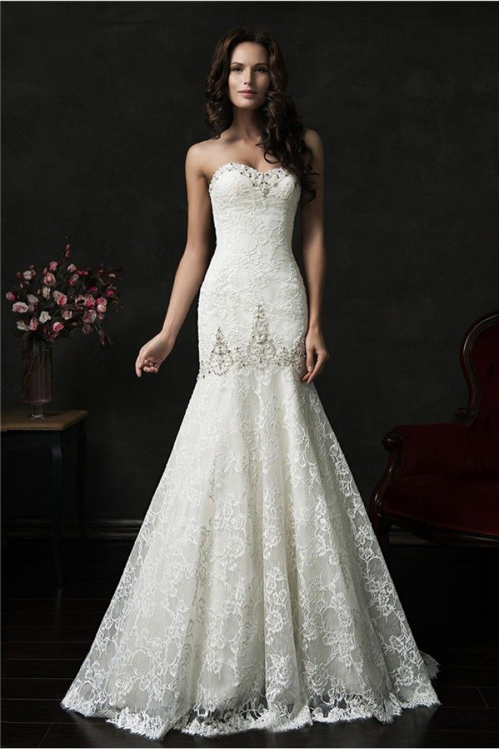 Trumpet Mermaid Strapless Corset Lace Crystal Wedding Dress With Buttons
