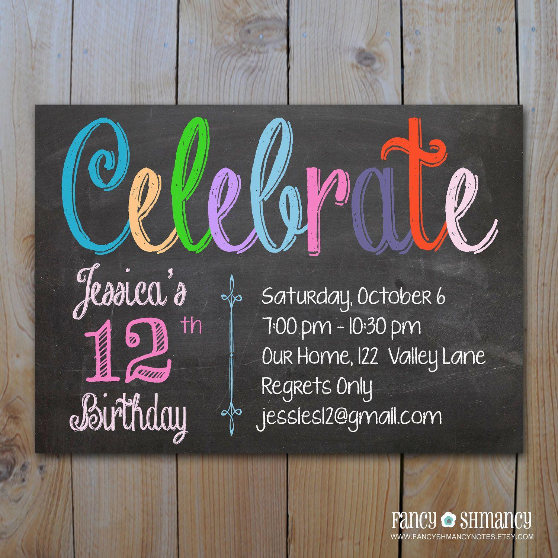 Chalkboard Birthday Invitation / Digital Chalkboard Invitation /Teen ...