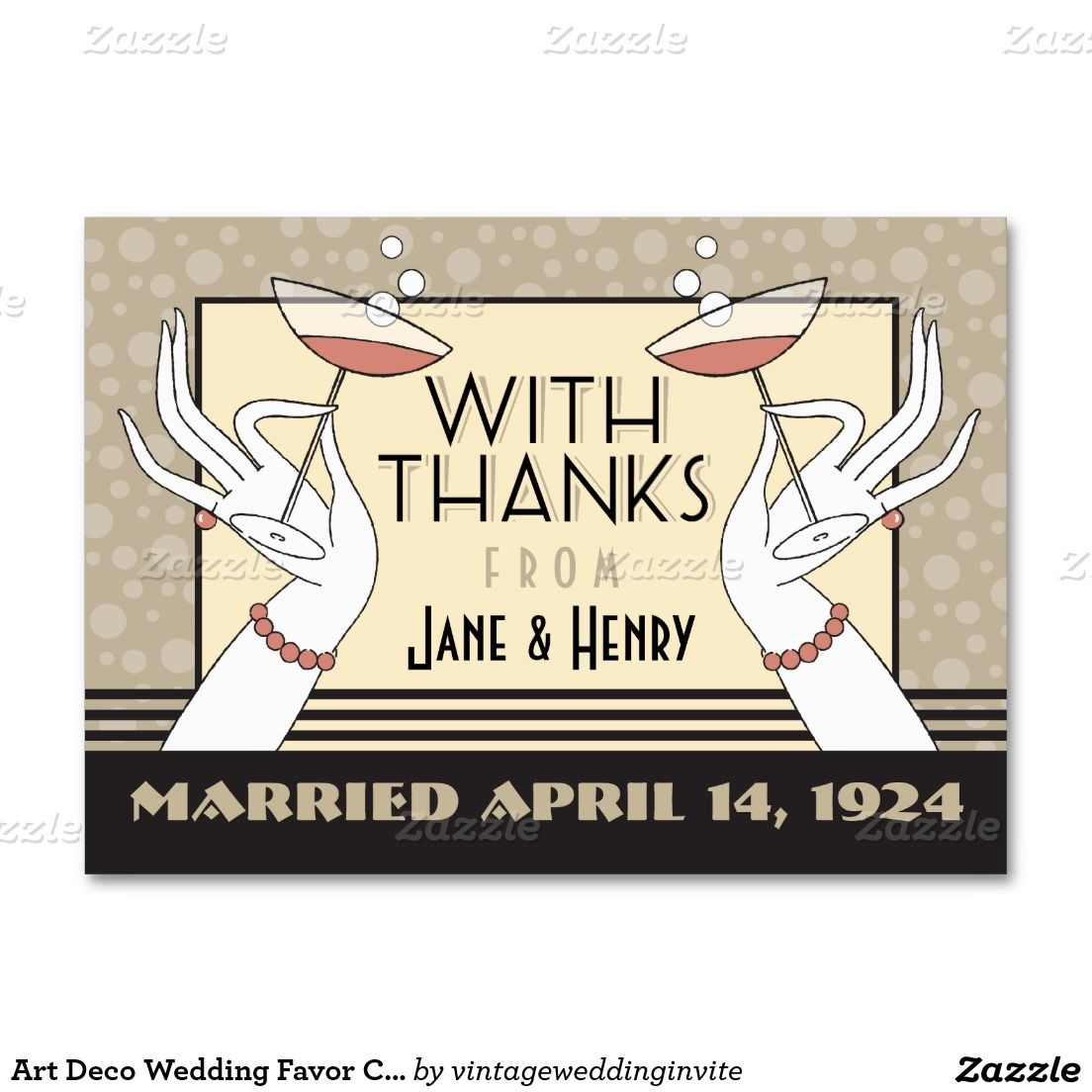 Art Deco Wedding Favor Card 3.5 x 2.5 Pink Large Business Cards ...
