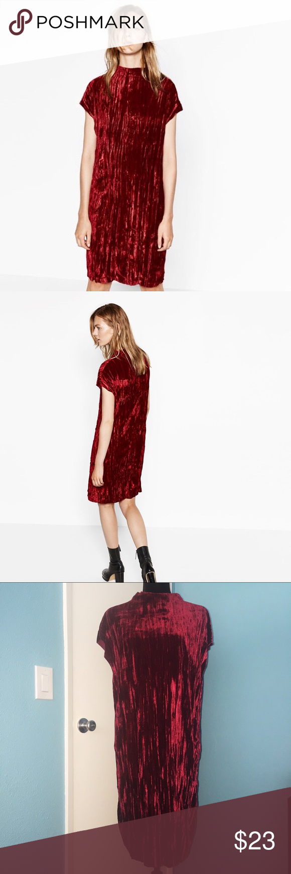 6ae80f4042 Zara Crushed Velvet Dress Burgundy mock neck crushed velvet dress. Never  been worn. 96% Polyester 4% Elastane Zara Dresses Midi