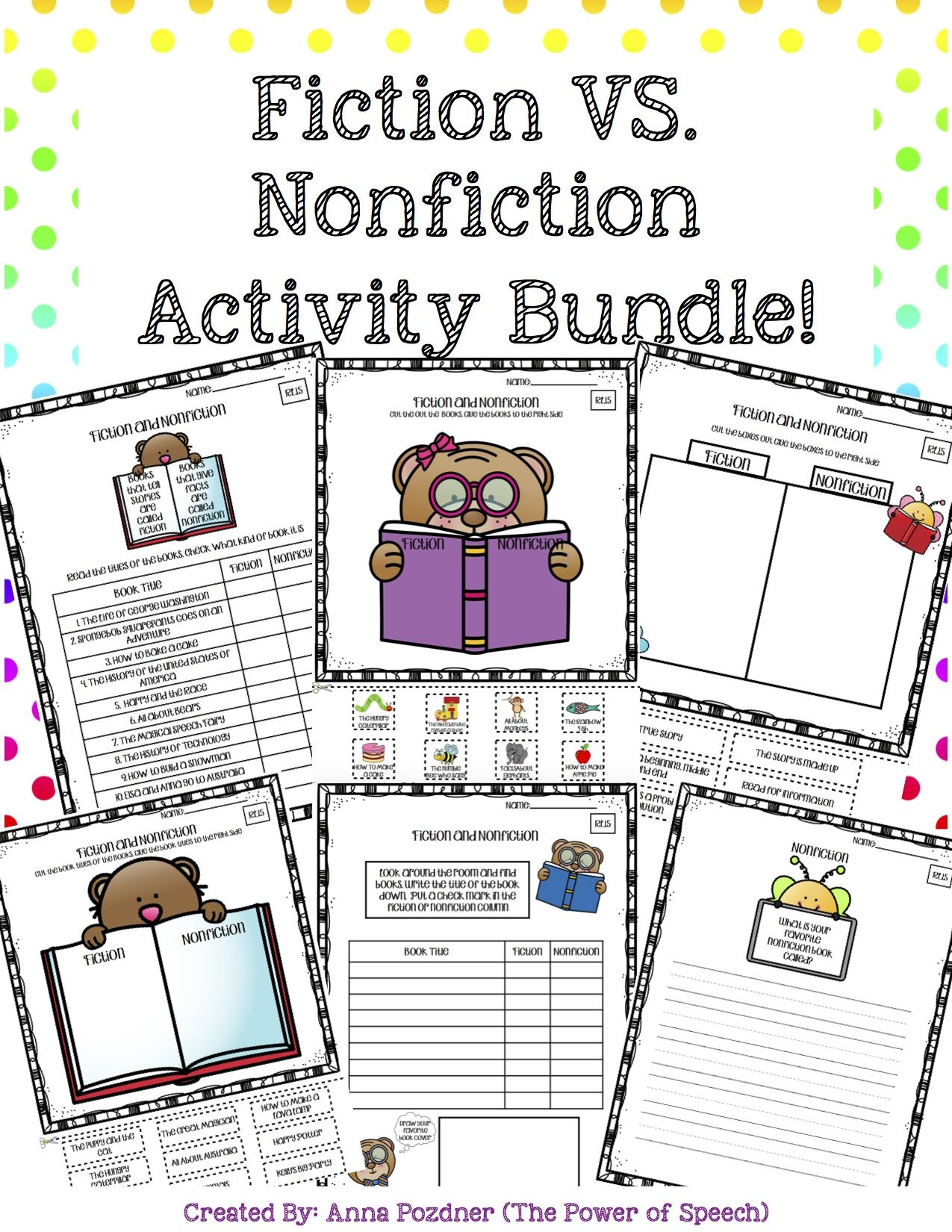 This Product Includes Worksheets That Compare Fiction And