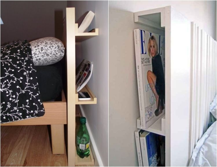 bilderleisten als versteckter stauraum hinter bett kopfteil deko und so pinterest. Black Bedroom Furniture Sets. Home Design Ideas