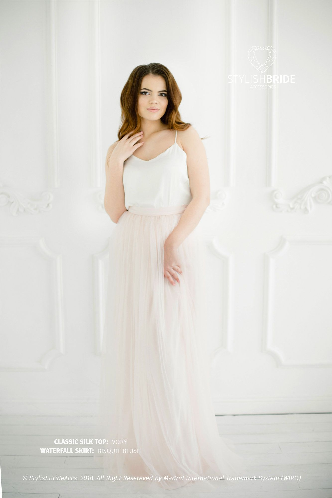 4cfa0ec75a Biscuit Blush Tulle Dress with Ivory Silk Classic Cami Top, Ivory Long  Floor Length Waterfall Skirt, Simple Engagement Dress 100% real photos!