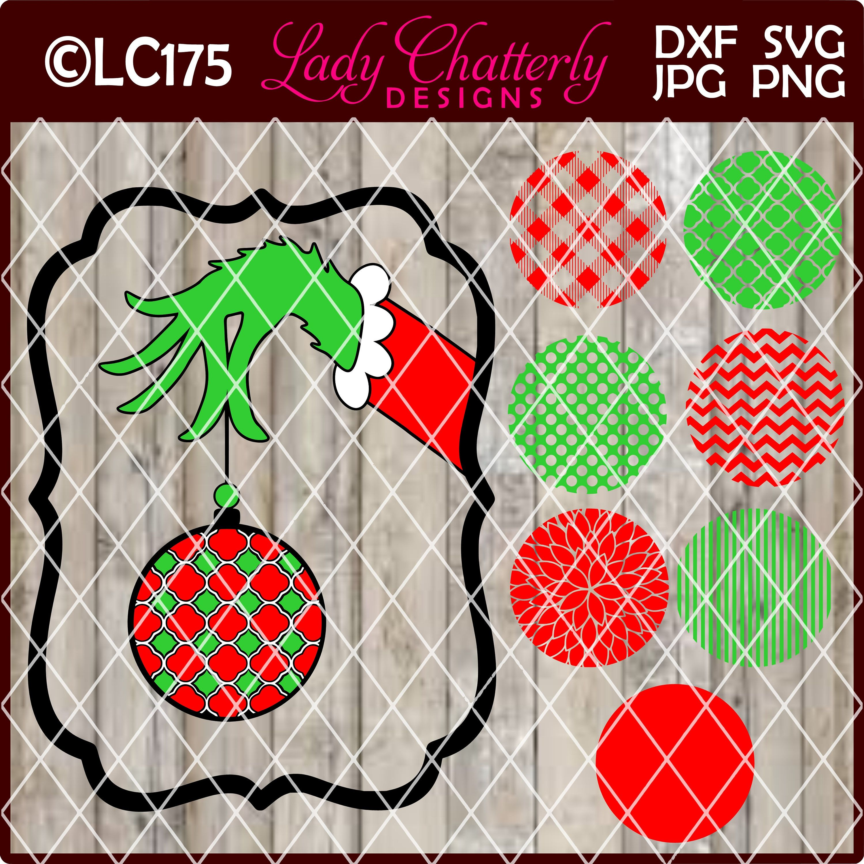 LC175 Monogram Ornament Frame Grinch Inspired Hand by