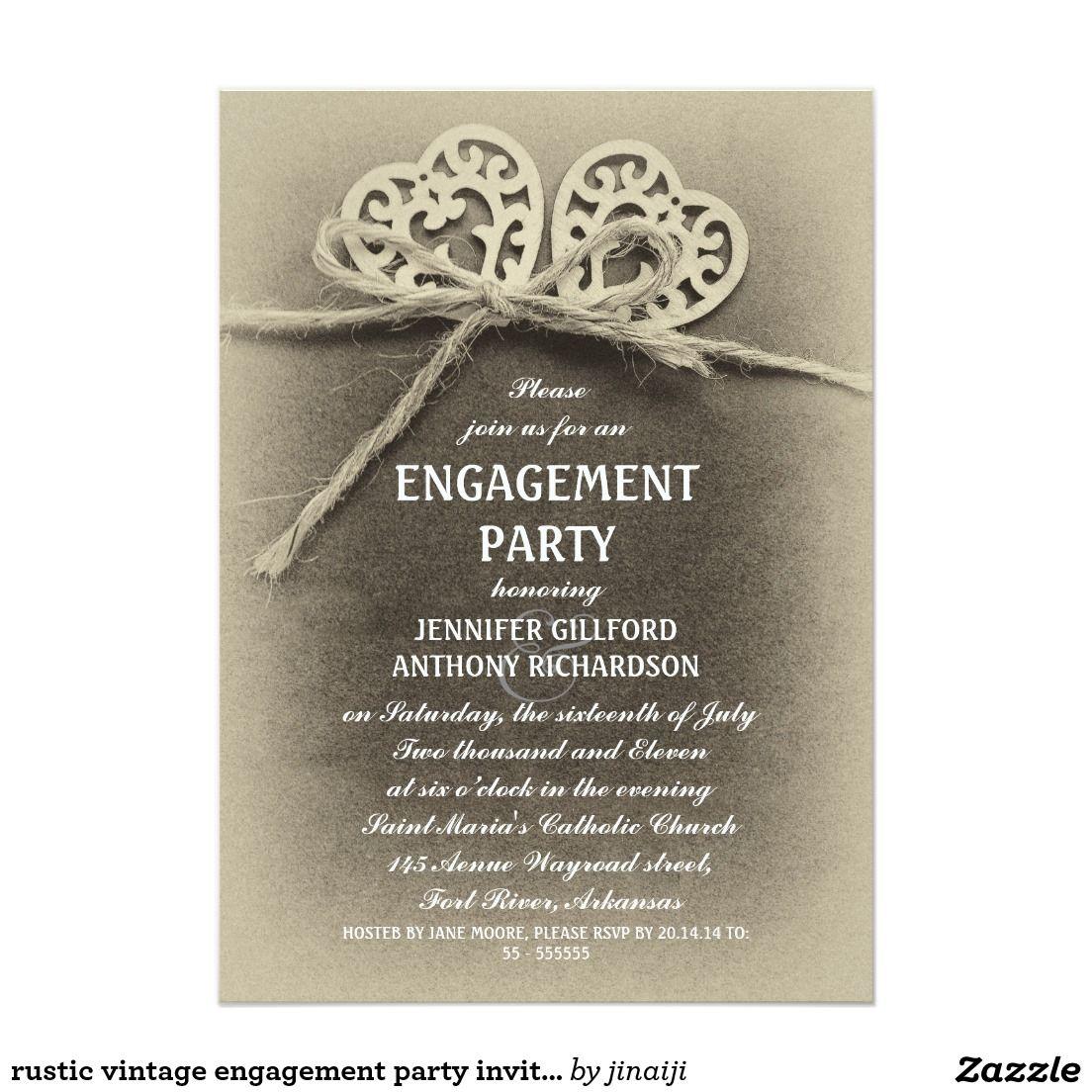 Rustic vintage engagement party invitation | Vintage engagement ...
