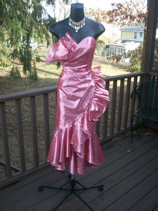 VINTAGE 80s PINK METALLIC ROCKSTAR WILD CHILD BEST IN SHOW DRESS S ...