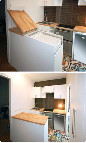 Hiding the washer dryer combo in a tiny home. Great idea! It's amazing how creative people can be! While the tiny home trend is on the rise, just as many single-family homeowners (and apartment dwellers) are taking steps to get even more space out of their cramped quarters. #tinyhome