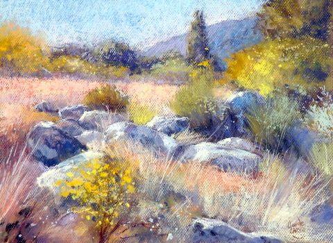 Herbes Folles (Peinture), 30X40 Cm Par Claude Carvin Pastel Sec