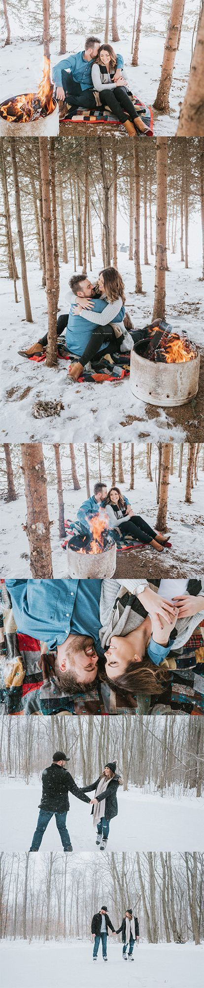 Photo of Winter bonfire  outdoor skating engagement session. #winter #engagement #engage …