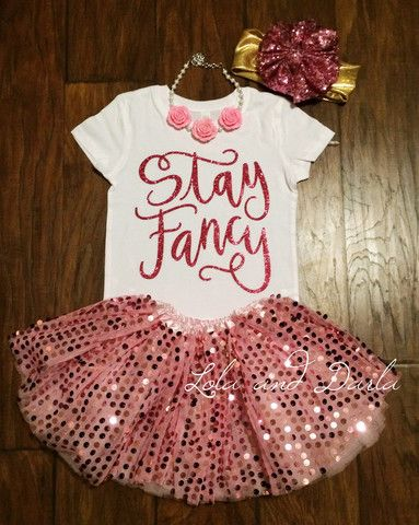 Stay Fancy Toddler and Girls Sparkle T shirt by Lola and Darla