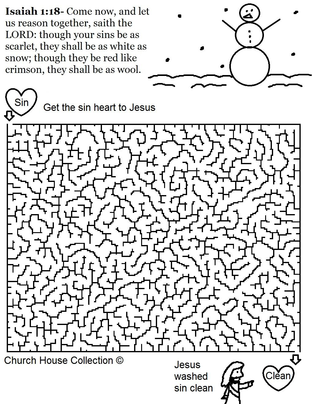 Free Christmas Snowman Isaiah 118 Printable Maze Template For Kids In Sunday School