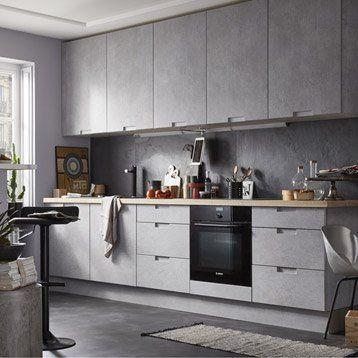 nice Idée relooking cuisine - Meuble de cuisine décor béton DELINIA ...