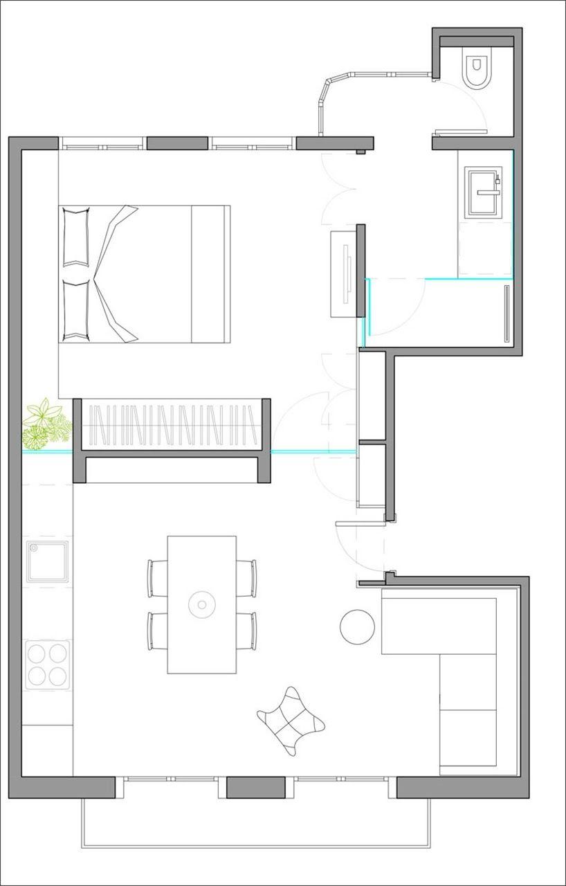 Un peque o apartamento en barcelona redise ado en 42 for Diseno de apartamento de 4x8 mts