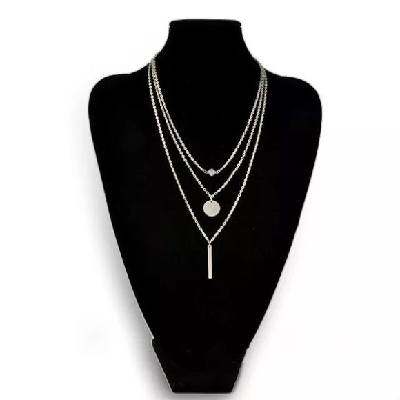 Trendy Multilayer Necklace Chic Geometry Pendant Trendy Multilayer Necklace Women Jewelry  Chic Geometry Pendant Hot  100% Brand New And High quality Material: Alloy    Color: Silver  Size: First Layer :44cm  Second:48cmThird:55cm Accessories