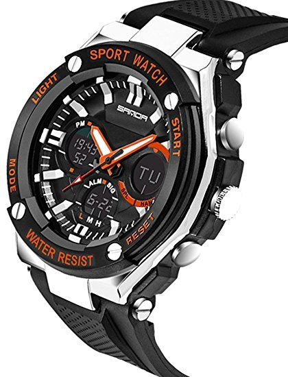 Niños reloj LED luz calendario correa de caucho de color negro con Dial de  gran tamaño resistente al agua reloj deportivo 55423b160f6b