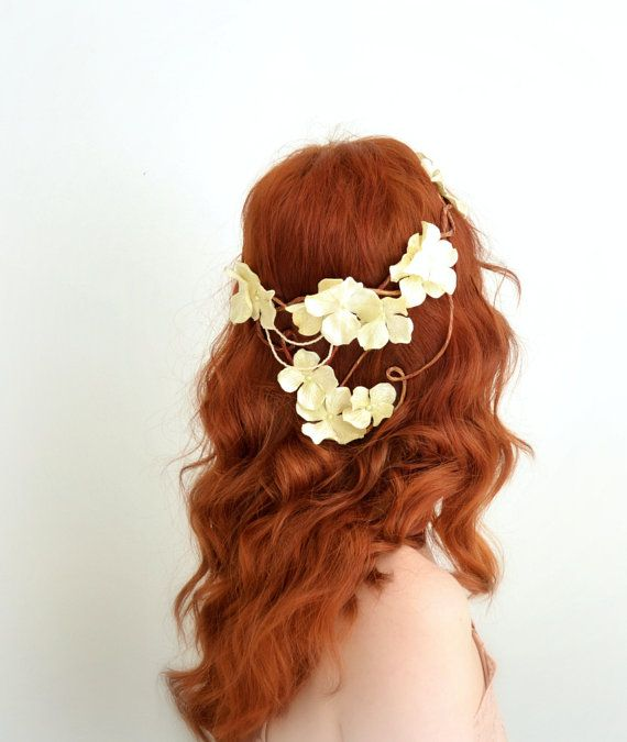 Boho bridal crown, ivory floral headpiece, hydrangea crown, woodland circlet, wedding hair accessory by gardens of whimsy on etsy