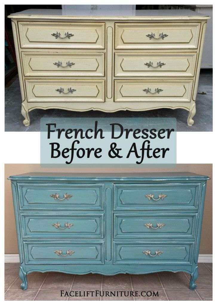 Sea Blue French Dresser Chest Before After Refinished Bedroom Furniture Painted