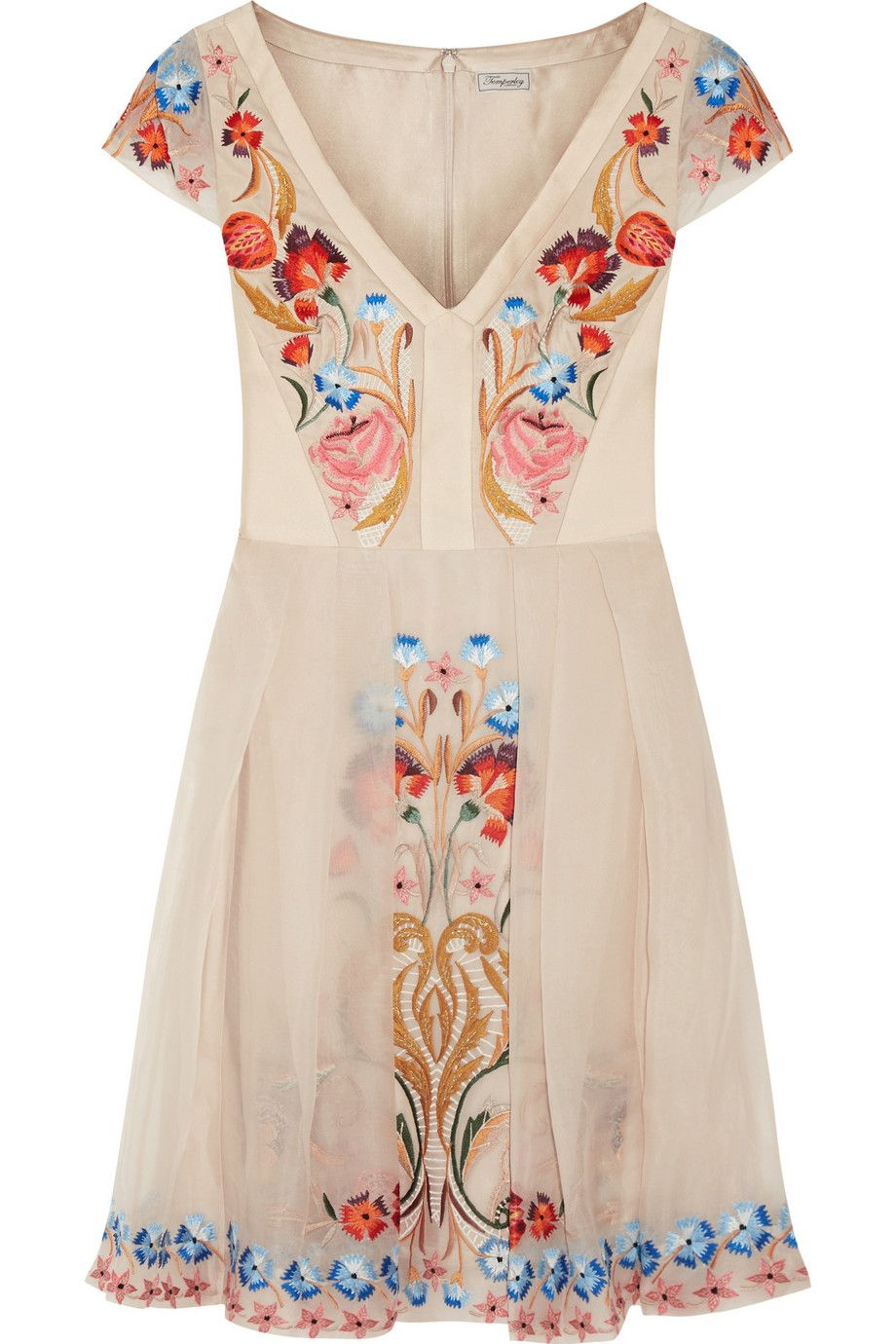 Layered Crepe Dress Embroidered Silkembroidered