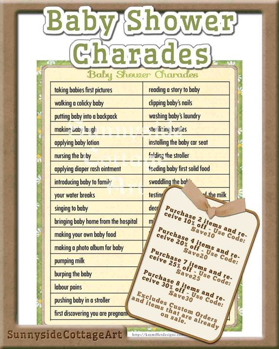 CHARADES Baby Shower Game, Gender Neutral Colors In A Vintage Style,  Complete Instructions, Diy PRINTABLE, 14BA