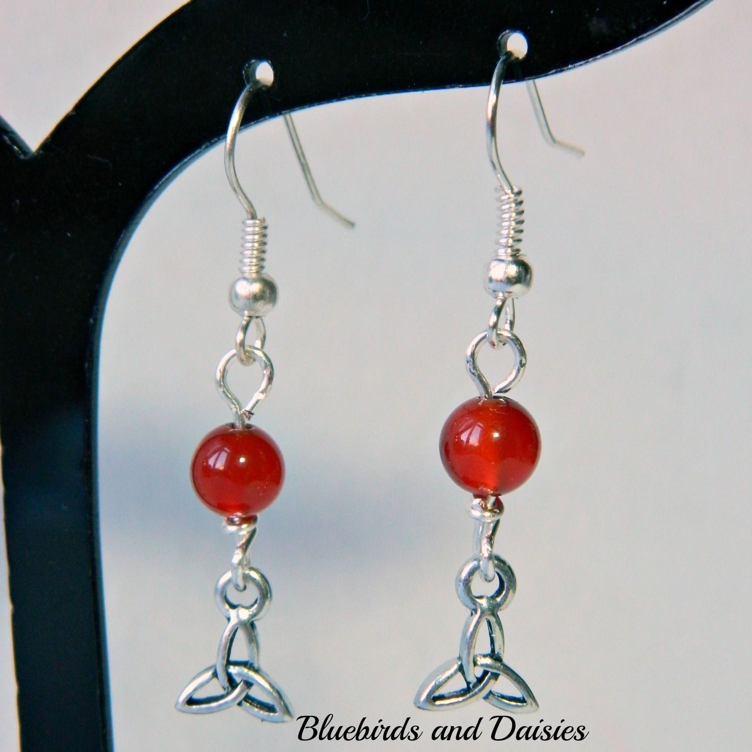 Triquetra earrings with carnelian beads