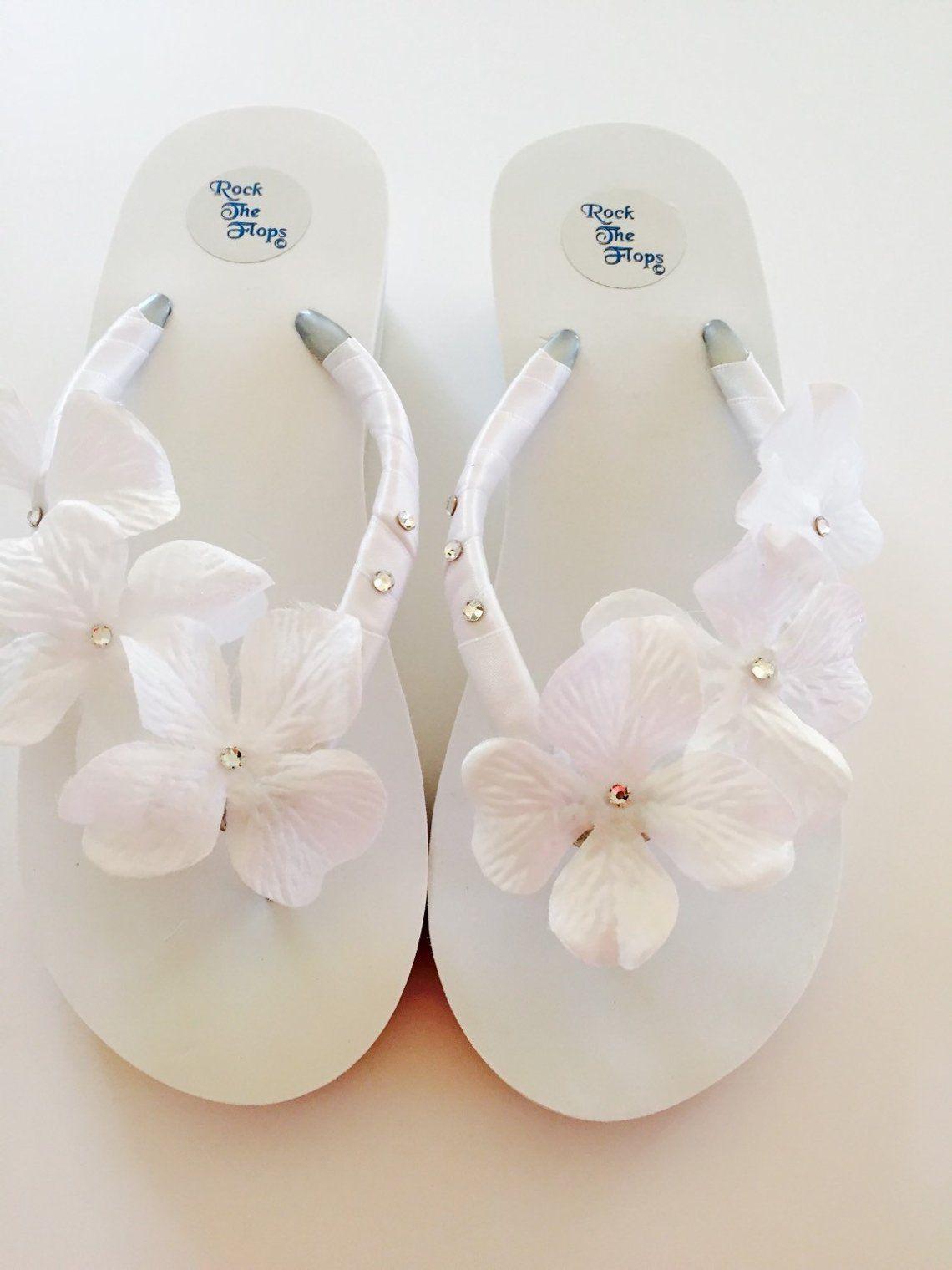 e155f7cfd8025a WHITE Bridal Flip Flops.Wedding Flip Flops.Wedged Flip Flops. Bride ...