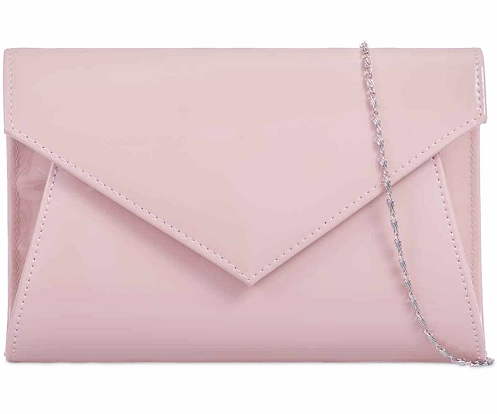 Nude Clutch Bag Glossy Faux Patent Leather Pale Pink Envelope Evening Bag Prom