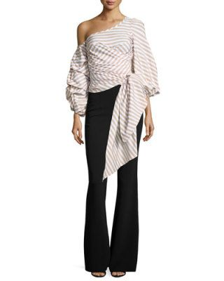 -72H3 Johanna Ortiz  Leticia Pinstripe Off-Shoulder Wrap Blouse Embera Sequined-Stripe Flared Pants, Olive