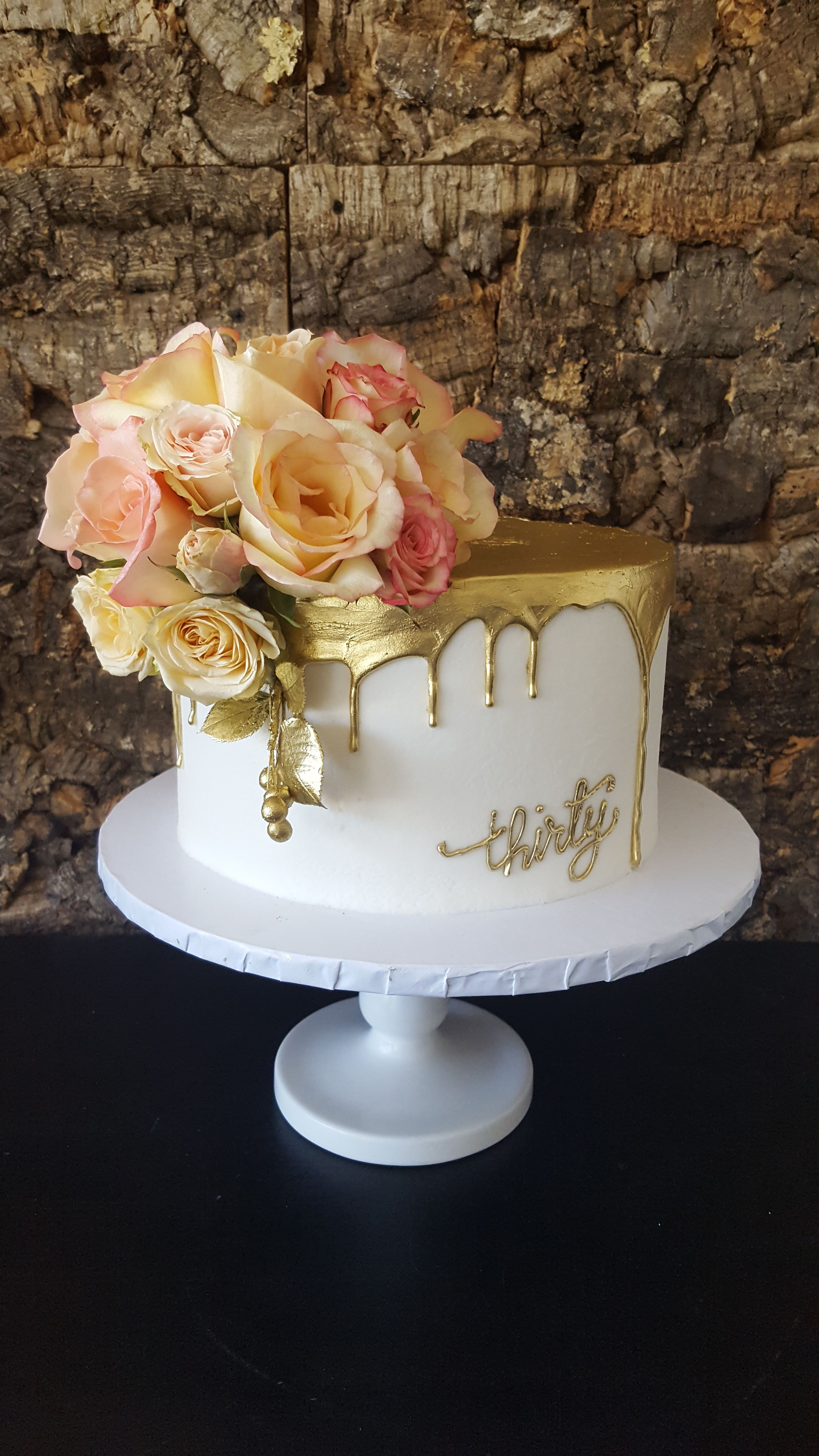 Miraculous 30Th Birthday Cake White Buttercream With A Gold Drip And Fresh Personalised Birthday Cards Veneteletsinfo