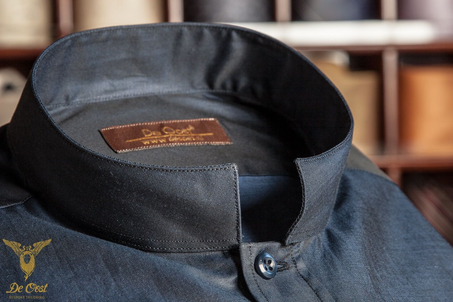Midnight Blue Plain Broadcloth Dress Shirt With Nehru Collar And
