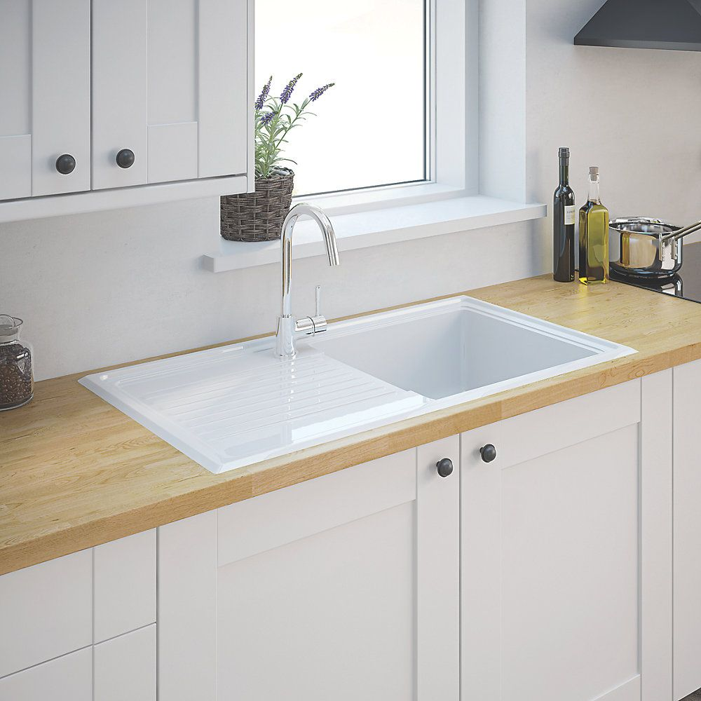 Ceramic 1 Bowl Kitchen Sink w/Reversible Drainer | Sinks ...