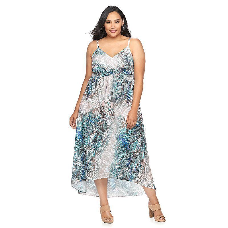jlo by jennifer lopez plus size printed empire maxi dress