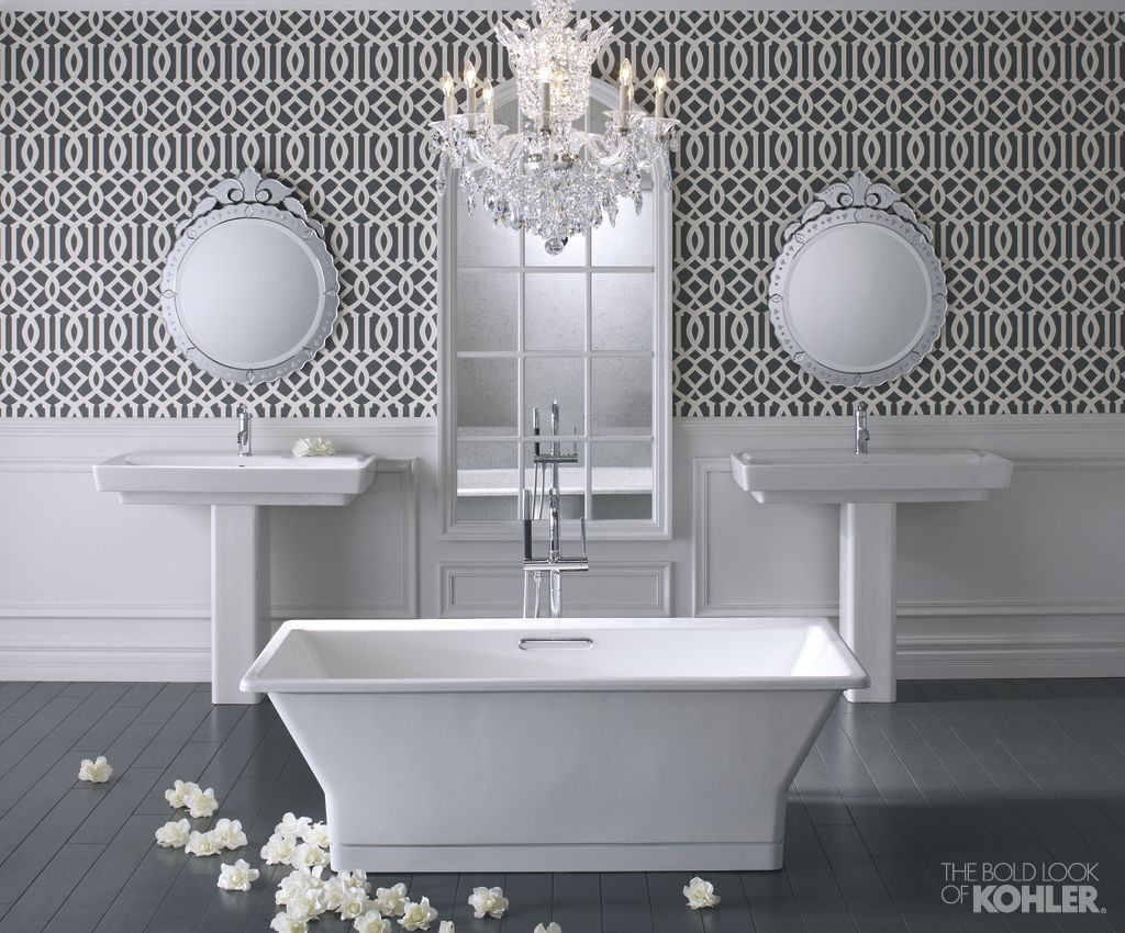 The Bold Look of | Pattern wallpaper, Bathtub and Freestanding bath
