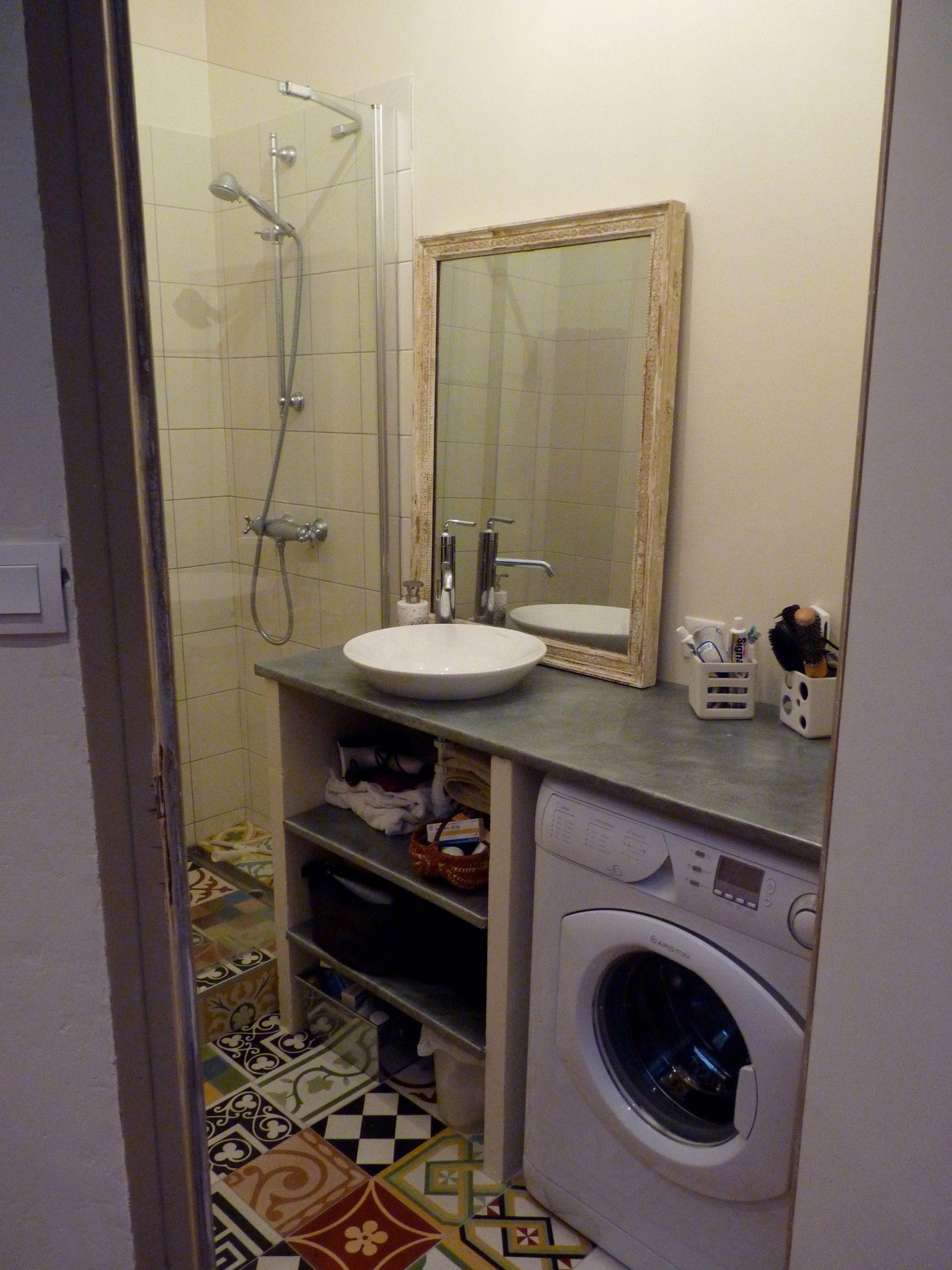 Meuble Salle De Bain Zinc ~ meuble zinc et sol carreaux de ciment salle de bains pinterest