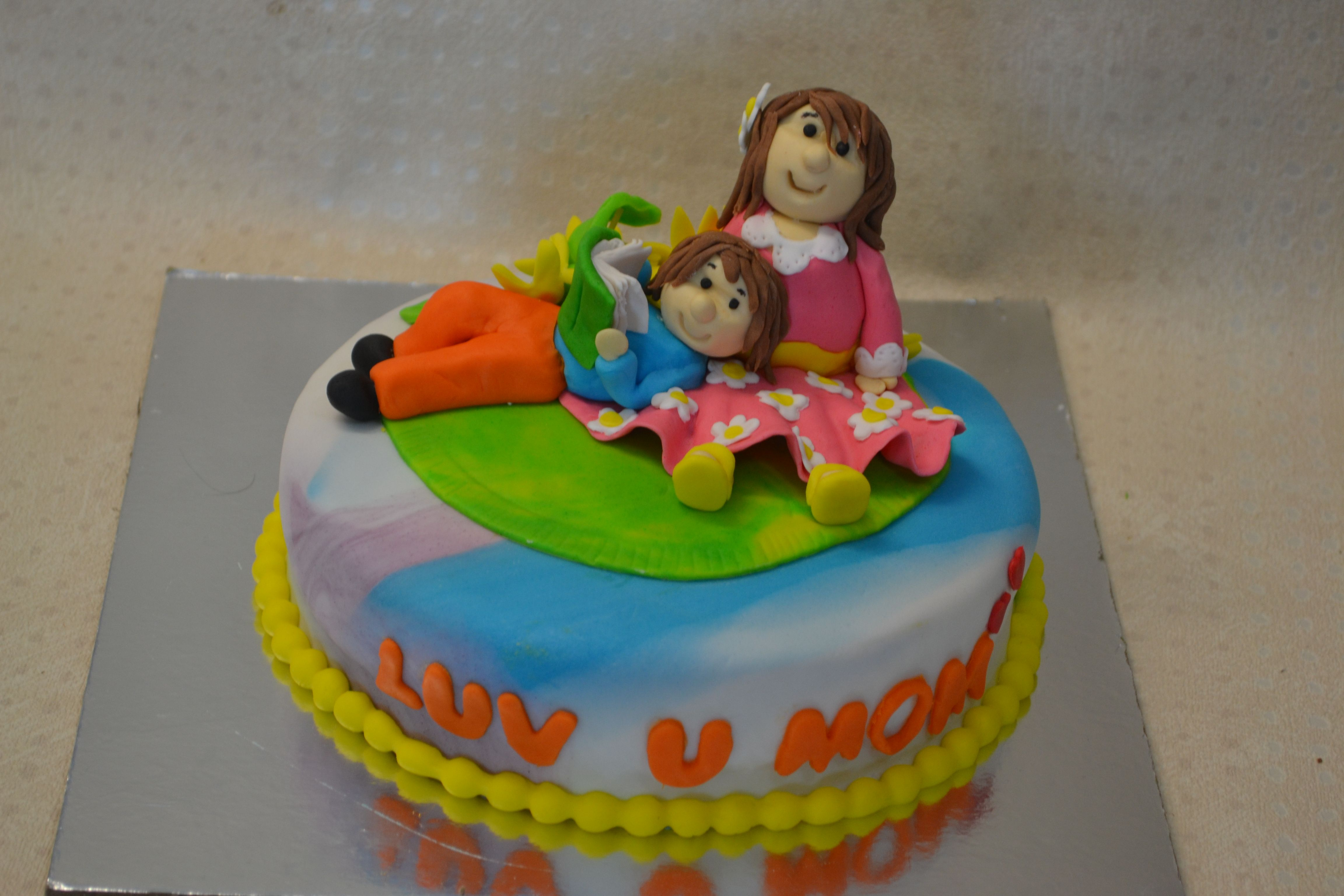 Mother And Son Fondant Cake Made By Beginner Student At 32 Degree