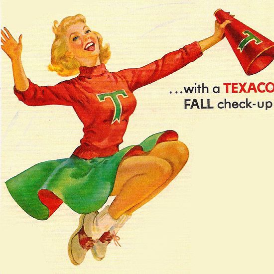 Detail Of Texaco Dealers Beat Winter Girl Fall Check 1950s