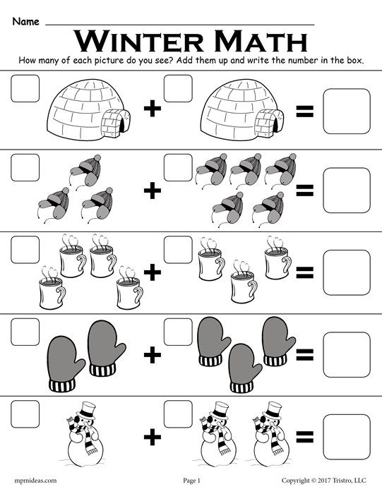 Winter Themed Addition With Pictures Math Worksheet Winter Math Worksheets Free Preschool Worksheets Preschool Math Worksheets