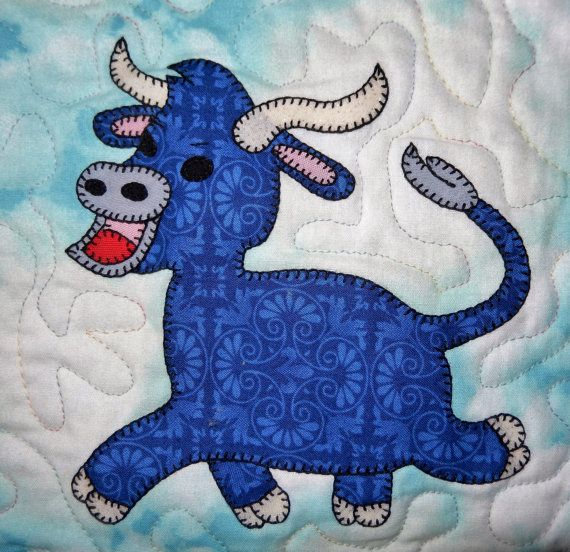 Farm animal applique PDF baby or childs quilt pattern cat dog duck