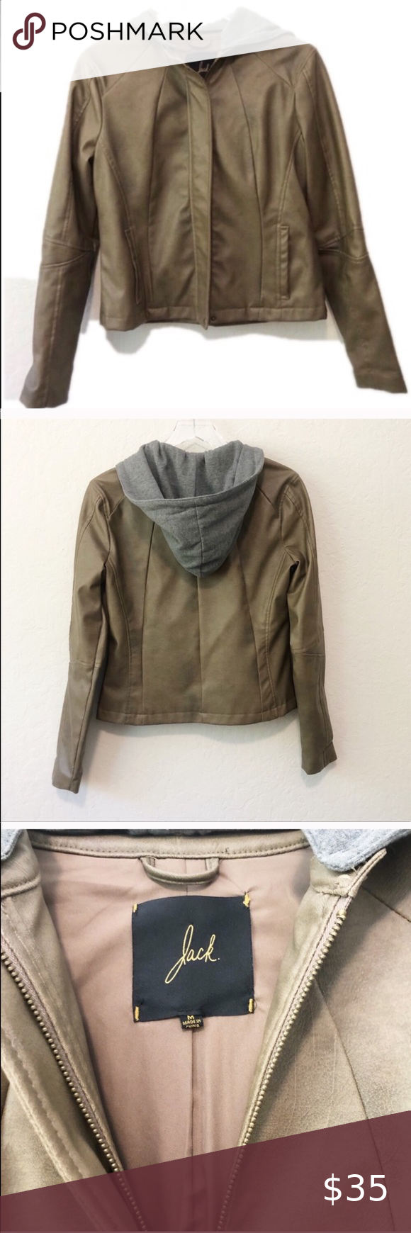 Jack By Bb Dakota Faux Leather Hooded Jacket Olive Green Brown Vegan Leather Jacket With Rem Faux Leather Hooded Jacket Leather Jacket With Hood Leather Hoodie [ 1740 x 580 Pixel ]