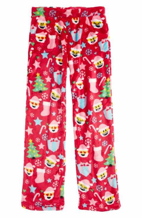 candy pink christmas emoji print pajama pants little girls big girls
