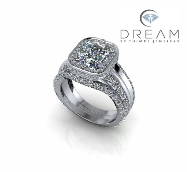 Radiant cut Diamond Engagement ring with Halo and two wedding bands by Dream by Thimke Jewelers