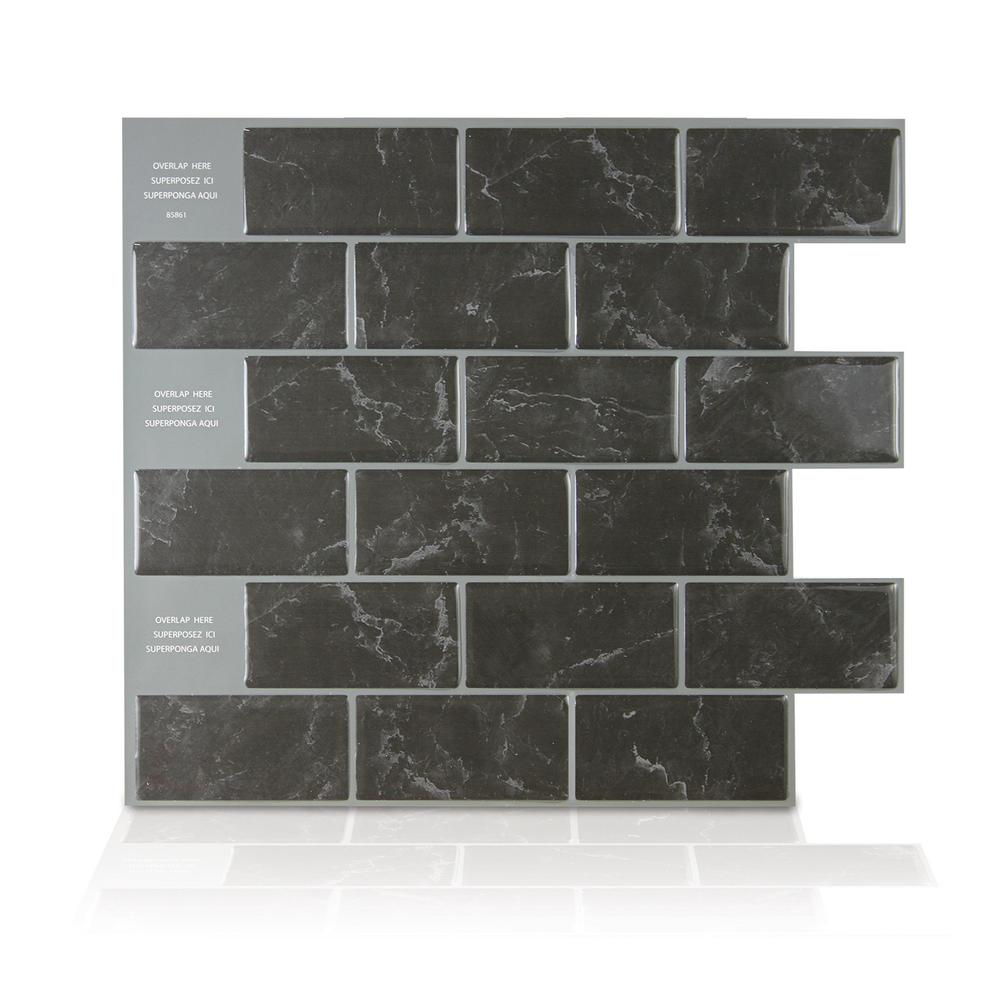 Smart Tiles 10 95 In H X 9 70 In W Peel And Stick Mosaic Decorative Wall Tile In Subway Marbella Sm1087 1 The Smart Tiles Stick On Tiles Mosaic Wall Tiles