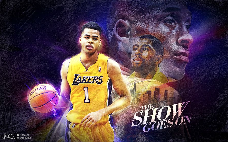 Wallpaper Of DAngelo Russell In LA Lakers Jersey Full Size Can