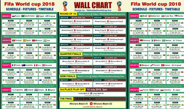 Fifa Schedule World Cup Fixtures World Cup Match World Cup 2018