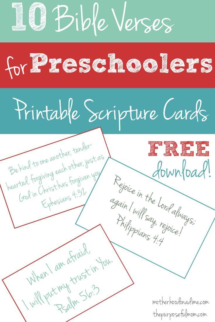 Free Printable: 10 Bible Verses to Teach Your Preschooler | Faith