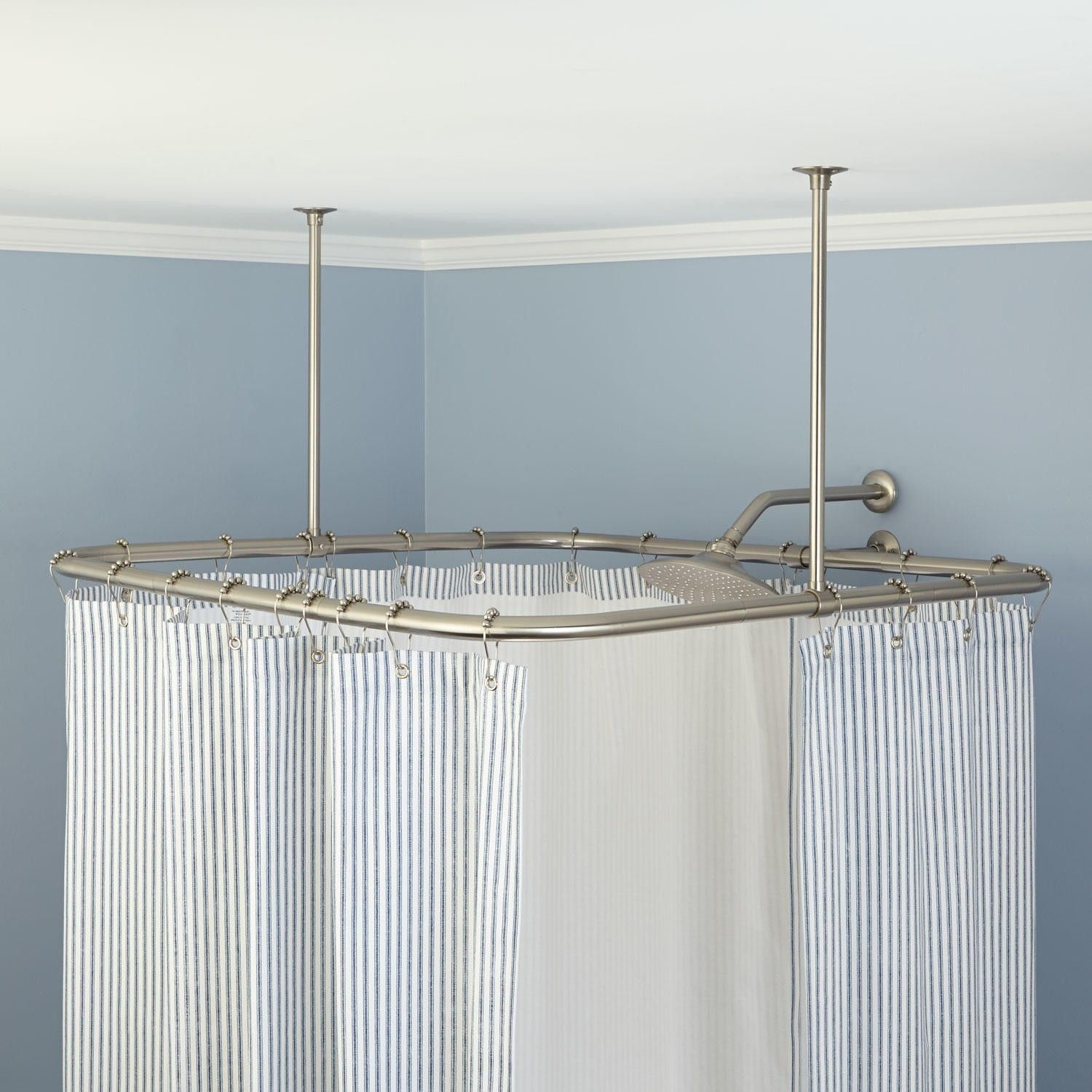 12 Incredible Ideas How To Upgrade Ceiling Shower Curtain Track